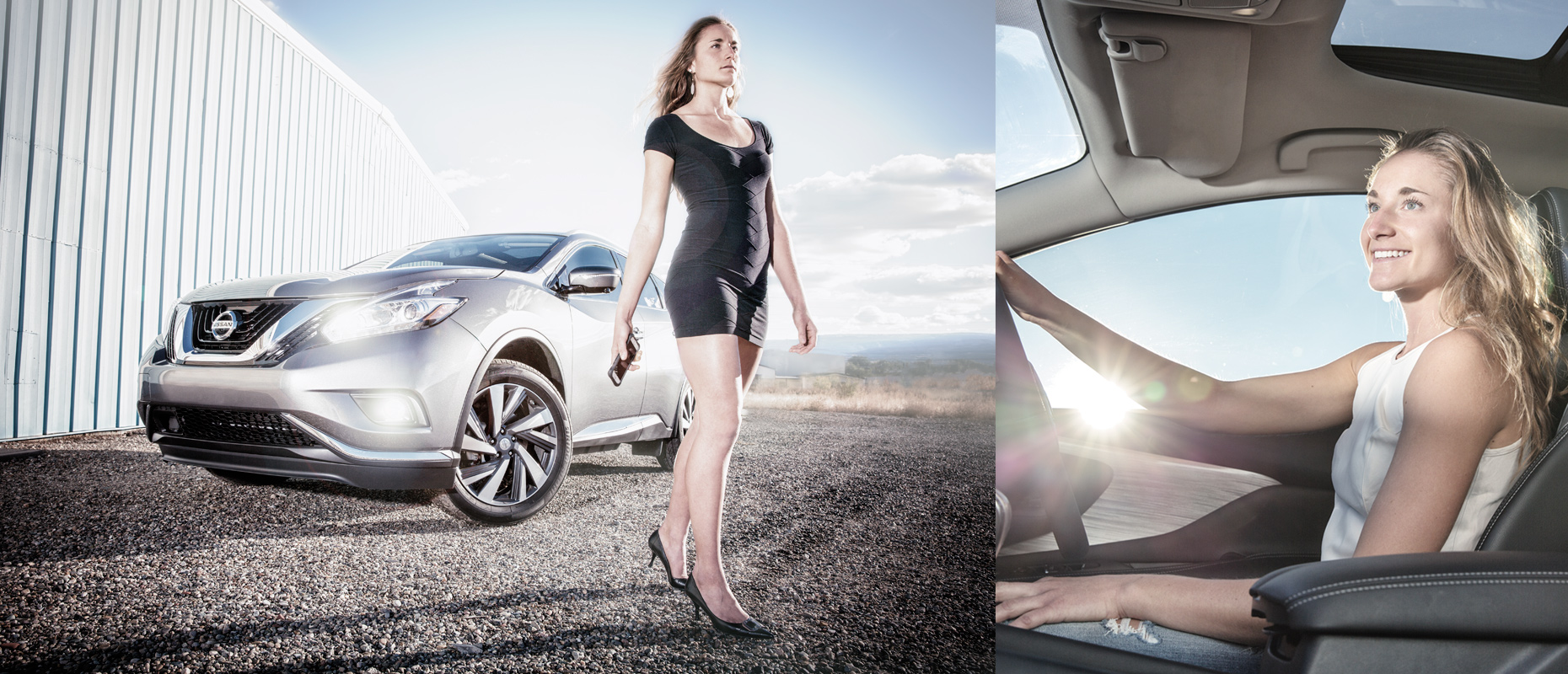 Beautiful young woman with Nissan Murano Automobile