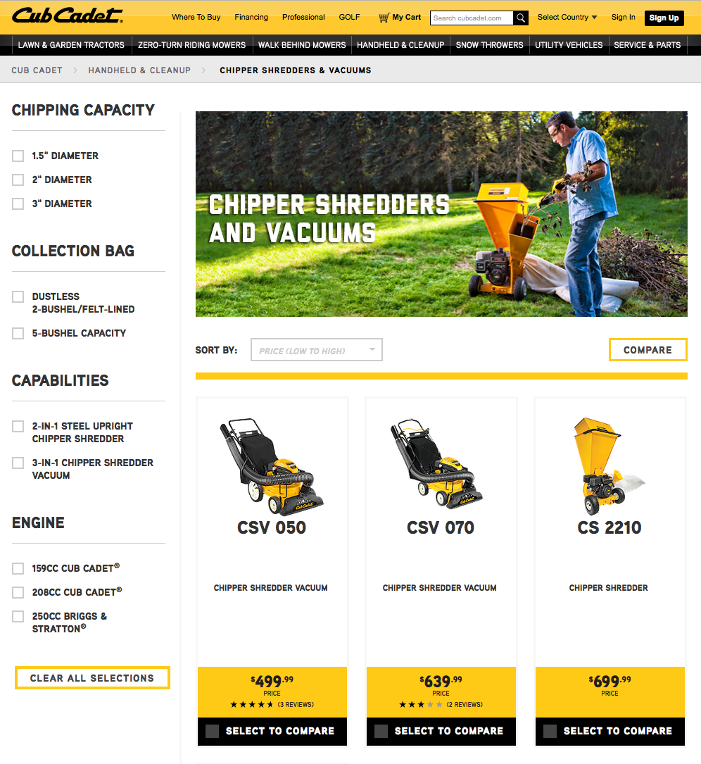 Cub Cadet Print Catalog  and Web Campaign
