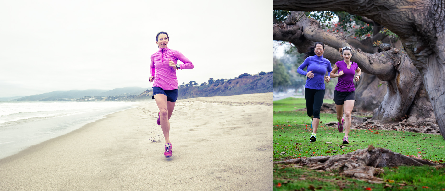 Two women running in park and on the beach